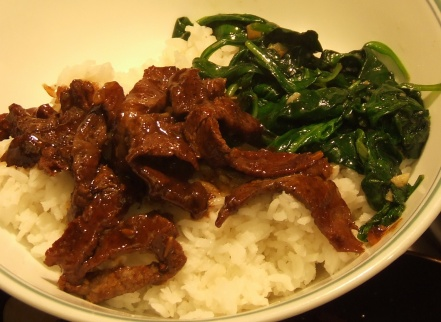 Beef rice and spinach
