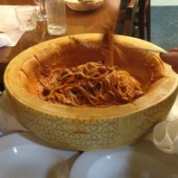 Pasta is stirred inside until well coated in cheese.