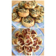 Spinach & Artichoke Dip and Seattle Hotdog Pinwheels