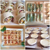 Mexican Pinwheels, Asian Summer Rolls, Tomato Basil Bites, & Cheesecake Bites